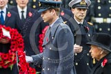 Remembrance Sunday at the Cenotaph in London 2014: HRH The Duke of Cambridge walking towards the Cenotaph with his wreath. Press stand opposite the Foreign Office building, Whitehall, London SW1, London, Greater London, United Kingdom, on 09 November 2014 at 11:05, image #203