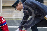 Remembrance Sunday at the Cenotaph in London 2014: HRH The Duke of Cambridge laying his wreath at the Cenotaph. Press stand opposite the Foreign Office building, Whitehall, London SW1, London, Greater London, United Kingdom, on 09 November 2014 at 11:05, image #204