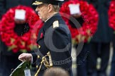 Remembrance Sunday at the Cenotaph in London 2014: HRH The Duke of York walking towards the Cenotaph with his wreath. Press stand opposite the Foreign Office building, Whitehall, London SW1, London, Greater London, United Kingdom, on 09 November 2014 at 11:05, image #207