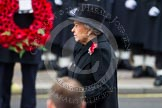 Remembrance Sunday at the Cenotaph in London 2014: HM The Queen standing at the Cenotaph, with the wreath held by David Cameron behind. Press stand opposite the Foreign Office building, Whitehall, London SW1, London, Greater London, United Kingdom, on 09 November 2014 at 11:05, image #209