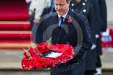 Remembrance Sunday at the Cenotaph in London 2014: Prime Minister David Cameron laying his wreath at the Cenotaph. Press stand opposite the Foreign Office building, Whitehall, London SW1, London, Greater London, United Kingdom, on 09 November 2014 at 11:07, image #218
