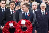 Remembrance Sunday at the Cenotaph in London 2014: Nick Clegg, as leader of the Liberal Democrats, walking towards the Cenotaph with his wreath. Press stand opposite the Foreign Office building, Whitehall, London SW1, London, Greater London, United Kingdom, on 09 November 2014 at 11:07, image #222