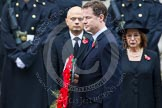 Remembrance Sunday at the Cenotaph in London 2014: The leader of the Liberal Demicrats, Nick Clegg, walking towards the Cenotaph with his wreath. Press stand opposite the Foreign Office building, Whitehall, London SW1, London, Greater London, United Kingdom, on 09 November 2014 at 11:07, image #223
