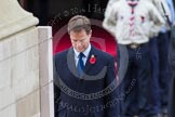 Remembrance Sunday at the Cenotaph in London 2014: The leader of the Liberal Demicrats, Nick Clegg, standing at the Cenotaph after having laid his wreath. Press stand opposite the Foreign Office building, Whitehall, London SW1, London, Greater London, United Kingdom, on 09 November 2014 at 11:07, image #224