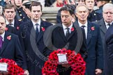 Remembrance Sunday at the Cenotaph in London 2014: Ed Miliband, the Leader of the Opposition, walking towards the Cenotaph with his wreath. Press stand opposite the Foreign Office building, Whitehall, London SW1, London, Greater London, United Kingdom, on 09 November 2014 at 11:07, image #225