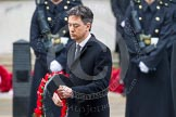 Remembrance Sunday at the Cenotaph in London 2014: Ed Miliband, the Leader of the Opposition, walking towards the Cenotaph with his wreath. Press stand opposite the Foreign Office building, Whitehall, London SW1, London, Greater London, United Kingdom, on 09 November 2014 at 11:08, image #226
