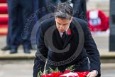 Remembrance Sunday at the Cenotaph in London 2014: Ed Miliband, the Leader of the Opposition, laying his wreath at the Cenotaph. Press stand opposite the Foreign Office building, Whitehall, London SW1, London, Greater London, United Kingdom, on 09 November 2014 at 11:08, image #227