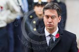 Remembrance Sunday at the Cenotaph in London 2014: Ed Miliband, the Leader of the Opposition, standing at the Cenotaph after having laid his wreath. Press stand opposite the Foreign Office building, Whitehall, London SW1, London, Greater London, United Kingdom, on 09 November 2014 at 11:08, image #228