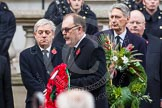 Remembrance Sunday at the Cenotaph in London 2014: Elfyn Llwyd, as leader of the Plaid Cymru / SNP Parliamentary Group, on the way to the Cenotaph to lay his wreath. Press stand opposite the Foreign Office building, Whitehall, London SW1, London, Greater London, United Kingdom, on 09 November 2014 at 11:08, image #233