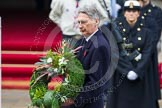 Remembrance Sunday at the Cenotaph in London 2014: Philip Hammond, Secretary of State for Foreign and Commonwealth Affairs, on the way to the Cenotaph to lay his wreath. Press stand opposite the Foreign Office building, Whitehall, London SW1, London, Greater London, United Kingdom, on 09 November 2014 at 11:09, image #235