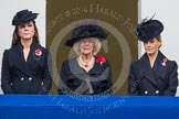 Remembrance Sunday at the Cenotaph in London 2014: TRH The Duchess of Cambridge, TRH The Duchess of Cornwall, and TRH THe Countess of Wessex on the balcony of the Foreign- and Commonweath Office. Press stand opposite the Foreign Office building, Whitehall, London SW1, London, Greater London, United Kingdom, on 09 November 2014 at 11:10, image #236