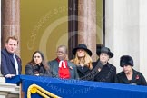 Remembrance Sunday at the Cenotaph in London 2014: Guests watching the ceremony from one of the balconies of the Foreign- and Commonwealth Office. Press stand opposite the Foreign Office building, Whitehall, London SW1, London, Greater London, United Kingdom, on 09 November 2014 at 11:11, image #245