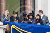 Remembrance Sunday at the Cenotaph in London 2014: Guests watching the ceremony from one of the balconies of the Foreign- and Commonwealth Office. Press stand opposite the Foreign Office building, Whitehall, London SW1, London, Greater London, United Kingdom, on 09 November 2014 at 11:11, image #246