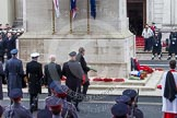 Remembrance Sunday at the Cenotaph in London 2014: The Ambassador of Ireland to Great Britain (?) laying his wreath at the Cenotaph. Press stand opposite the Foreign Office building, Whitehall, London SW1, London, Greater London, United Kingdom, on 09 November 2014 at 11:13, image #256