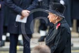 Remembrance Sunday at the Cenotaph in London 2014: HM The Queen at the Cenotaph. Press stand opposite the Foreign Office building, Whitehall, London SW1, London, Greater London, United Kingdom, on 09 November 2014 at 11:16, image #265
