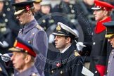 Remembrance Sunday at the Cenotaph in London 2014: Commander Andrew Canale, Royal Navy, equerry to HM The Queen, singing at the service. Press stand opposite the Foreign Office building, Whitehall, London SW1, London, Greater London, United Kingdom, on 09 November 2014 at 11:16, image #270