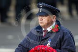 Remembrance Sunday at the Cenotaph in London 2014: The representative of Transport for London walking towards the Cenotaph with his wreath. Press stand opposite the Foreign Office building, Whitehall, London SW1, London, Greater London, United Kingdom, on 09 November 2014 at 11:27, image #313