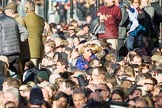Remembrance Sunday at the Cenotaph in London 2014: Spectators on the eastern side of Whitehall waiting for the barriers to be removed.. Press stand opposite the Foreign Office building, Whitehall, London SW1, London, Greater London, United Kingdom, on 09 November 2014 at 12:24, image #320