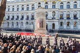 Remembrance Sunday at the Cenotaph in London 2014: The Cenotaph after the March Past.. Press stand opposite the Foreign Office building, Whitehall, London SW1, London, Greater London, United Kingdom, on 09 November 2014 at 12:26, image #321