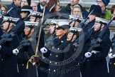 Remembrance Sunday at the Cenotaph in London 2014: The Royal Navy detachment is leaving Whitehall. There are hundreds of photos of all service detachments coming onto, and leaving Whitehall, please ask!. Press stand opposite the Foreign Office building, Whitehall, London SW1, London, Greater London, United Kingdom, on 09 November 2014 at 12:30, image #322