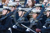 Remembrance Sunday at the Cenotaph in London 2014: The Royal Navy detachment is leaving Whitehall. There are hundreds of photos of all service detachments coming onto, and leaving Whitehall, please ask!. Press stand opposite the Foreign Office building, Whitehall, London SW1, London, Greater London, United Kingdom, on 09 November 2014 at 12:31, image #323