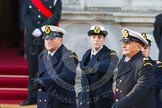 Remembrance Sunday at the Cenotaph in London 2014: The Royal Navy detachment is leaving Whitehall. There are hundreds of photos of all service detachments coming onto, and leaving Whitehall, please ask!. Press stand opposite the Foreign Office building, Whitehall, London SW1, London, Greater London, United Kingdom, on 09 November 2014 at 12:32, image #324