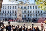 Remembrance Sunday at the Cenotaph in London 2014: After the March Past - barriers are set up around the Cenotaph before the public is allowed to approach. Press stand opposite the Foreign Office building, Whitehall, London SW1, London, Greater London, United Kingdom, on 09 November 2014 at 12:53, image #329