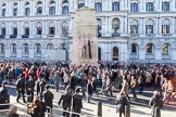 Remembrance Sunday at the Cenotaph in London 2014: The gates at Whitehall have been opened to let the [ublic get to the Cenotap. Press stand opposite the Foreign Office building, Whitehall, London SW1, London, Greater London, United Kingdom, on 09 November 2014 at 12:59, image #330