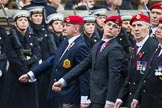 Remembrance Sunday at the Cenotaph 2015: Group B16, Royal Military Police Association. Cenotaph, Whitehall, London SW1, London, Greater London, United Kingdom, on 08 November 2015 at 11:40, image #131
