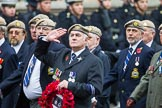 Remembrance Sunday at the Cenotaph 2015: Group C18, Royal Air Force Masirah & Salalah Veterans Association (New for 2015). Cenotaph, Whitehall, London SW1, London, Greater London, United Kingdom, on 08 November 2015 at 11:49, image #526