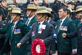 Remembrance Sunday at the Cenotaph 2015: Group D17, British Gurkha Welfare Society. Cenotaph, Whitehall, London SW1, London, Greater London, United Kingdom, on 08 November 2015 at 11:54, image #695
