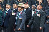 Remembrance Sunday at the Cenotaph 2015: Group D17, British Gurkha Welfare Society. Cenotaph, Whitehall, London SW1, London, Greater London, United Kingdom, on 08 November 2015 at 11:55, image #701