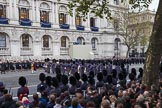 Remembrance Sunday at the Cenotaph 2015: The Massed Bands move position to allow  the second of the three columns of veterans to march past the Cenotaph. Cenotaph, Whitehall, London SW1, London, Greater London, United Kingdom, on 08 November 2015 at 11:56, image #748