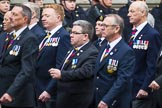 Remembrance Sunday at the Cenotaph 2015: Group E28, Aircraft Handlers Association. Cenotaph, Whitehall, London SW1, London, Greater London, United Kingdom, on 08 November 2015 at 12:02, image #957