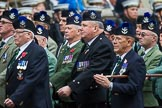 Remembrance Sunday at the Cenotaph 2015: Group A8, Queen's Own Highlanders Regimental Association. Cenotaph, Whitehall, London SW1, London, Greater London, United Kingdom, on 08 November 2015 at 12:10, image #1235