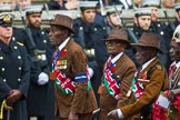 Remembrance Sunday at the Cenotaph 2015: Group A33, King's African Rifles. Cenotaph, Whitehall, London SW1, London, Greater London, United Kingdom, on 08 November 2015 at 12:14, image #1407