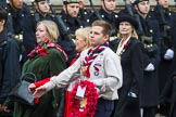 Remembrance Sunday at the Cenotaph 2015: Group M5, Evacuees Reunion Association. Cenotaph, Whitehall, London SW1, London, Greater London, United Kingdom, on 08 November 2015 at 12:14, image #1442