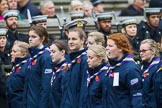 Remembrance Sunday at the Cenotaph 2015: Group M51, Girlguiding London & South East England. Cenotaph, Whitehall, London SW1, London, Greater London, United Kingdom, on 08 November 2015 at 12:21, image #1729