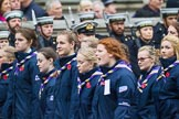 Remembrance Sunday at the Cenotaph 2015: Group M51, Girlguiding London & South East England. Cenotaph, Whitehall, London SW1, London, Greater London, United Kingdom, on 08 November 2015 at 12:21, image #1730