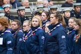 Remembrance Sunday at the Cenotaph 2015: Group M51, Girlguiding London & South East England. Cenotaph, Whitehall, London SW1, London, Greater London, United Kingdom, on 08 November 2015 at 12:21, image #1731