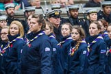 Remembrance Sunday at the Cenotaph 2015: Group M51, Girlguiding London & South East England. Cenotaph, Whitehall, London SW1, London, Greater London, United Kingdom, on 08 November 2015 at 12:21, image #1732