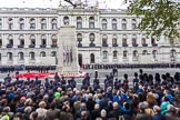 Remembrance Sunday at the Cenotaph 2015: The March Past is over, and the wreaths are reorganised. Cenotaph, Whitehall, London SW1, London, Greater London, United Kingdom, on 08 November 2015 at 12:22, image #1768