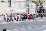 "Remembrance Sunday at the Cenotaph 2015: The ""marker detail personell"" is marching towards Downing Street. When they return to Whitehall, they will mark the positions for the armed forces detachments that will line Whitehall. Image #16, 08 November 2015 09:41 Whitehall, London, UK"