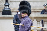 Remembrance Sunday at the Cenotaph 2015: Garrison Sergeant Major Andrew 'Vern' Stokes, in charge of ceremonial events at London District, saluting at the Cenotaph. Image #19, 08 November 2015 09:55 Whitehall, London, UK
