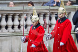 Remembrance Sunday at the Cenotaph 2015: The two markers for the Household Cavalry detachment are marching to their designated position on Whitehall. Image #21, 08 November 2015 10:07 Whitehall, London, UK