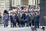 Remembrance Sunday at the Cenotaph 2015: The first column of veterans marching along Whitehall, passing the Memorial for Women in World War II. Image #24, 08 November 2015 10:15 Whitehall, London, UK