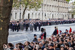 Remembrance Sunday at the Cenotaph 2015: The first of three columns of veterans and the representatives of charities are in place on Whitehall. Image #28, 08 November 2015 10:17 Whitehall, London, UK