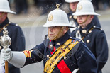 Remembrance Sunday at the Cenotaph 2015: The Drum Major of the Band of her Majesty's Royal Marines, Portsmouth. Image #41, 08 November 2015 10:19 Whitehall, London, UK