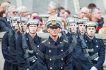 Remembrance Sunday at the Cenotaph 2015: A Royal Navy Lieutenant Commander in front of Royal Navy streetliners. Image #43, 08 November 2015 10:21 Whitehall, London, UK
