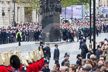 Remembrance Sunday at the Cenotaph 2015: The Memorial for Women in World War II, with the first column of veterans waiting for the March Past marching from Horse Guards Parade to Whitehall. Image #57, 08 November 2015 10:33 Whitehall, London, UK